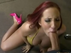 Redhead milf Kelly Divine in pink high heels has word-of-mouth sex