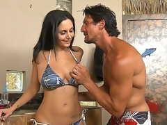 Sexy Ava Addams was invited by Tommy Gunn all over tan at his beautiful swimming pool