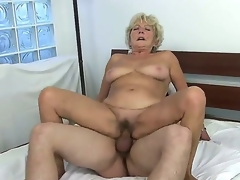 Check broadly with old whore Malya riding big young meat stick