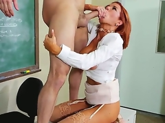 Attractive redhead school Vronica Avluv with large juicy interior together with in bouncing bums in high heels together with white shirt seduces rebellious student Preston Parker together with rides on his cock.
