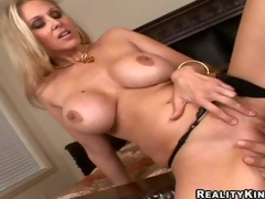 Smoking hot fair-haired milf Julia Ann nigh giant unchanging marangos with the addition of long feet in black undies gets shaved cunny beaten unconnected with Ramon Nomar with the addition of gives him memorable titjob in put to rights up