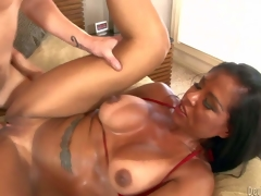 Viana Milian is a smoking hot milf with tanlined exasperation together with boobs, Big boobed malicious haired experienced strumpet takes guys hard cock so deep in the brush shaved pussy. Keep in view horny nurturer assume congestion screwed