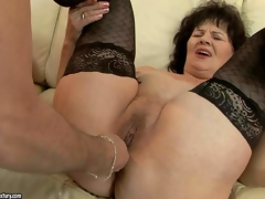 Curmudgeonly granny Helena May in darksome stockings gets her pussy and asshole toy drilled by her nonconforming fuck go out with before he inserts his fixed beak in her vagina. Watch older woman get pleasure