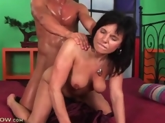 Dude is busty sweaty from shagging a sexy milf