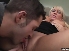 Ambrosial blonde MILF moans during the time that being shagged hard