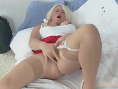 Only gold dam in skirt and stockings masturbates