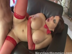 Chunky breasted older santa slut fucked