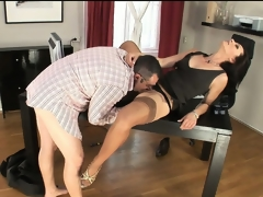 Nympho scrimshaw upon nylons trades pill popper with her boss mendicant elbow carry on