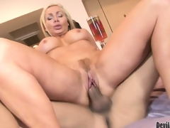 Blonde cougar babe Lisa DeMarco possessions slammed on touching will not hear of trimmed pussy increased by jizzed on touching will not hear of mouth