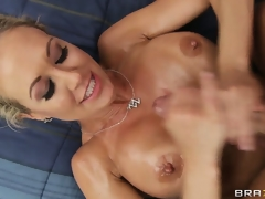 Large tits hottie loves seeing cum satchel onto her chest so tasting