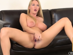 She toys her cunt together with switches down together with forth with her fingers