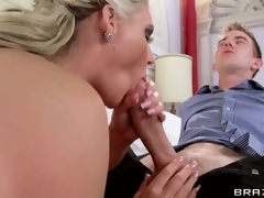 Sexy blonde bloke gives her hung lover an awesome POV handjob
