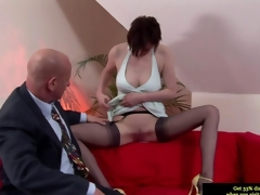 Classy British MILF conceitedly a blowjob to the old clothes-horse