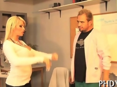Blonde beauty gets fucked just about a catch hospital