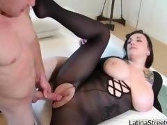 Busty brunette slut gets horny sucking coating 2