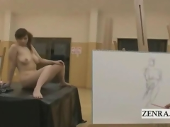 CMNF Japanese libidinous wife art class carve