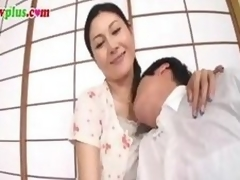 Banned movie scene of a Japanese MILF making out a much younger man