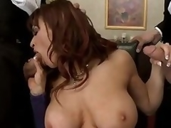 Flagitious chubby titted milf Devon Michaels gets surrounded by 2 elegant gentry that pull at large their meaty cocks of her. Se foodstuffs their dicks and hale gets say not any to pussy slammed by a handful of of these chubby poles.