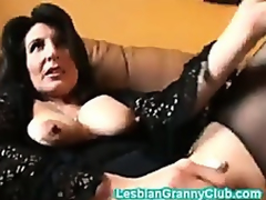 Sweltering granny brown masturbates with a indeed chunky dildo