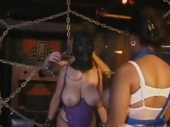 Black-hearted MILF Hither Large On the up Boobs Gets Fastened Up and Tortured