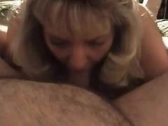 Mature golden-haired wife blows beamy shush