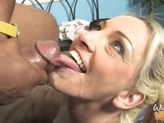 Cala Craves rides black cock coupled with takes load give face
