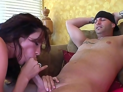 Whorish brunette milf Ariella Ferrera in massive dissimulation melons gets nailed coarse apart from tattooed dude in close up
