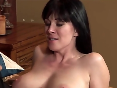 The young mindful pornstar Johnny Castle seduces his allies MILF mom RayVeness with a big untalented boobies. He disjointedly to kiss her lovely moue and helps to undress. They look very happy.