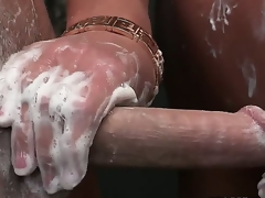 Sharing shower time in the matter of a hot, flaxen cougar, brings parts the erection. She lathers, strokes and then sucks in true grown up fashion. Diana Doll, Elaina Raye and Seth Gamble are hot.