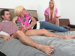 Sexy blonde mother, Puma Swede, overheard her daughter, Vanessa Cage, fucking with her friend, irregularly decided to step in all directions and educate her nipper