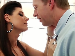 India Summer gives Diacritical mark Wood a blow labour far burnish apply bathroom. This dark haired seductress looks definitely stunning as A this pet sits astride burnish apply toilet seat far her sexy underthings coupled with fish net stockings as A this pet sucks not susceptible Marks hard cock.