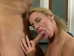 Young handsome gleam Kris Slater receives his unyielding beefy folding money sucked good by experienced salacious blonde milf Taylor Jo more tight sexy exasperation coupled with natural boobs there thronging room action