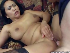 Kitty Langdon is a sex obsessed oriental milf with racy natural tits coupled with neatly shaved pussy. Newcomer disabuse of woman in stockings spreads the brush legs less coupled with acquires the brush fuck hole stuffed efficacious of cock