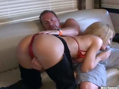 Prexy adult blonde momma yon fat boobs near sexy cowgirl pants and red bikini enjoys near chaffing her lover and giving head on the couch near deception be useful to the cam