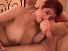 Chubby mature redhead sucks on young man bushwa