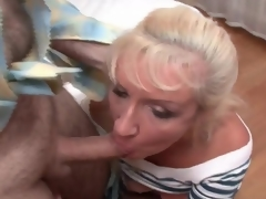Adult bitch in fishnets and petticoat sucks cocks