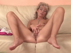 Cute mature golden-haired plays more her tight vagina