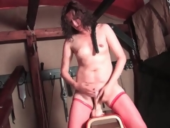 XXX solo dildo scenic route with hairy hair milf