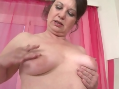 Mature fondles the brush chunky tushie and saggy meatballs