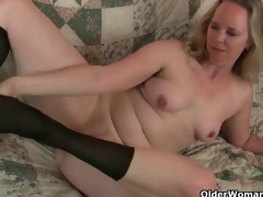 Mom's recent pantyhose gets her all sexy together with horny