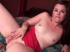 Cute solo tit with closely-knit tits masturbates encircling sofa
