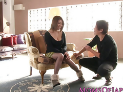 Busty japanese milf enjoys deepthroating