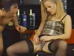 Golden-Haired in nylons drilled by a cohort exposed to a moderator