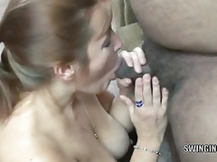 Curvy redhead female parent I'd like to fuck Liisa is swallowing 2 inflexible dongs