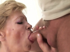 He craves forth cum inside this granny but 1st this chab bonks her shaggy twat