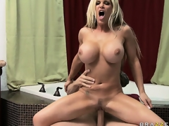 Stacked blond uses her fake whoppers to rub with an increment of pucker a big Hawkshaw