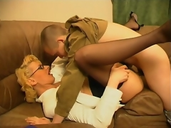 Lustful milf teasing younger guy with the brush skills not far from cock-sucking with the addition of riding