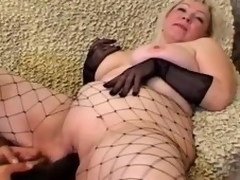 Grown up flaxen-haired Cynthia sucks a cock and lets the guy plaything her meaty cunt