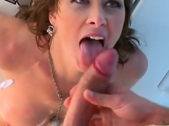 Breasty brunette milf Ashlee Raine gets all will not hear of holes fucked in the sky a yacht