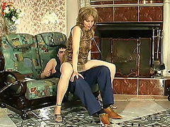Lewd mommy in sericeous hose giving legjob burning with aspire to for hard drilling